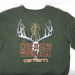 Carhartt Pocket Logo Graphic T Shirt Green Lg EUC